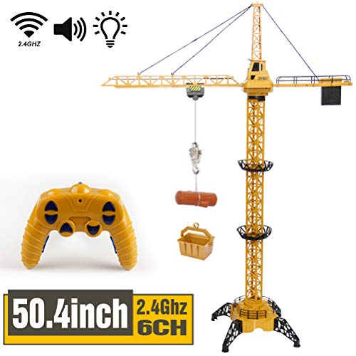 Mini Tudou 50.4 inch Tall 2.4GHz Remote Control Tower Crane, 6 Channel Radio Control Construction RC Crane Toy 680 Degree Rotation Lift Model with Tower Light & Sound for Kids Boys Girls