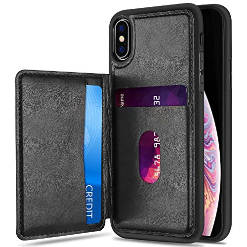 ProCase iPhone Xs Max Card Case, Slim Flip Kickstand Leather Wallet Case Protective Cover with Card Slots Holder for Apple iPhone Xs Max 6.5 Inch 2018 Release –Black