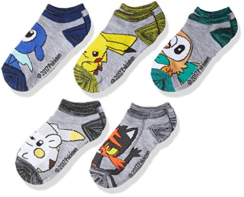 PokÃmon boys Pokemon 5 Pack No Show Casual Sock, Grey Light, Sock Size 6-8.5 Fits Shoe Size 7.5-3.5 US