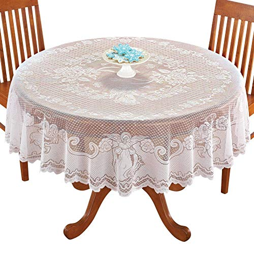 DoubleWood Christmas Tablecloth White Angel Lace Banquet Round Tablecloths for Holiday Festival Party Home Decorations Baby Showers Table Covers for Kitchen Tables (White Angel, Round 70 Inches)