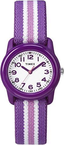 Timex Girls TW7C06100 Time Machines Purple/Pink Stripes Elastic Fabric Strap Watch
