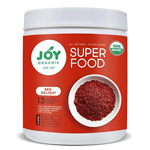 Joy Organic Red Renewal Superfood - Vital Reds Whole Food Supplement with Beet, Cranberry, Strawberry - Boosts Metabolism, Combats Effects of Aging and Enhances Memory - Vegan - 30 Servingsv