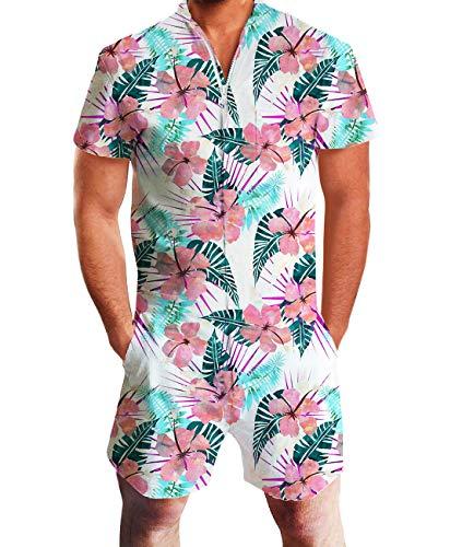 Fanient Mens One Piece Romper Fashion Flower Print Jumpsuit Short Sleeve Elastic Waist Tracksuits S