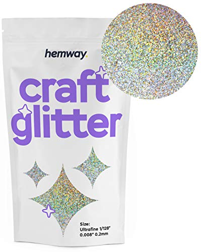 Hemway Craft Glitter 100g 3.5oz Ultra Fine/Extra Fine 1/128' .008' 0.2MM (Gold Silver Holographic)