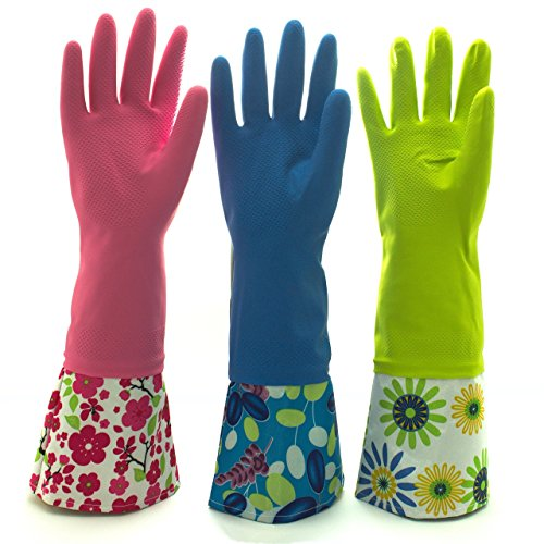 Reusable Waterproof Household Latex Cleaning Gloves, Long Cuff, Kitchen Gloves. 16 inches Long - Pack of 3 (Medium)