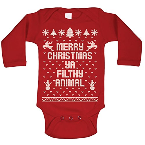 Ya Filthy Animal Merry Christmas Ugly Christmas Sweater Contest Party Baby Long Sleeve One Piece 12 Months Red