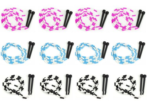 7-Foot Jump Ropes, 12-Pack - Pink, Blue, Black, White Skip Rope for Exercise - Sports & Outdoor Activities for Kids, Adults, and Athletes - Toys, Games, Family Fun