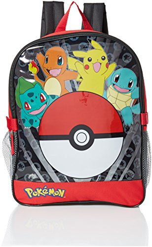 Pokemon Boys' Pocket 15 Inch Backpack with Lunch Kit, Red, 15