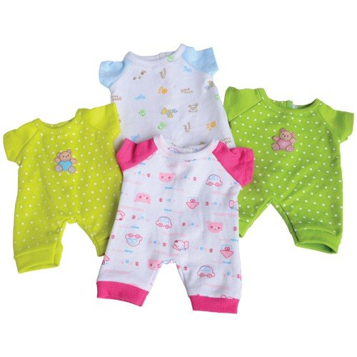 Constructive Playthings Washable Pajama Outfits with Hook and Loop Closures for 10 inch Baby Dolls, Set of 4