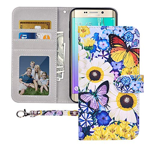 S6 Wallet Case, Galaxy S6 Case, MagicSky Premium PU Leather Flip Folio Case Cover with Wrist Strap,Card Holder, Cash Pocket, Kickstand for Samsung Galaxy S6 (Butterfly Over Flowers)