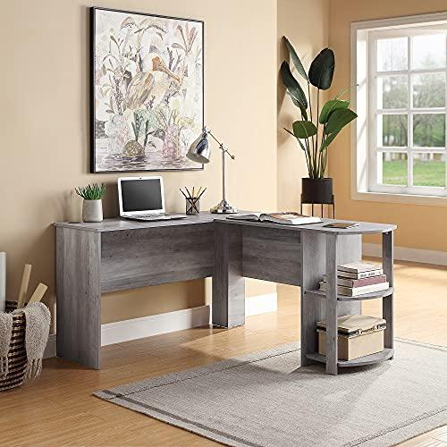 BELLEZE Kent L-Shaped Home Office Desk, Wood Corner Computer Desk, Grey Wash