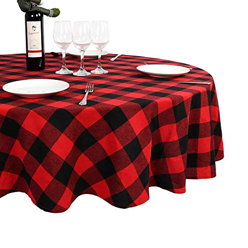 OurWarm Round Tablecloth, Christmas Tablecloth 70 x 70 Inches Cotton Checkered Red Buffalo Plaid Tablecloth for Christmas Table Decoration