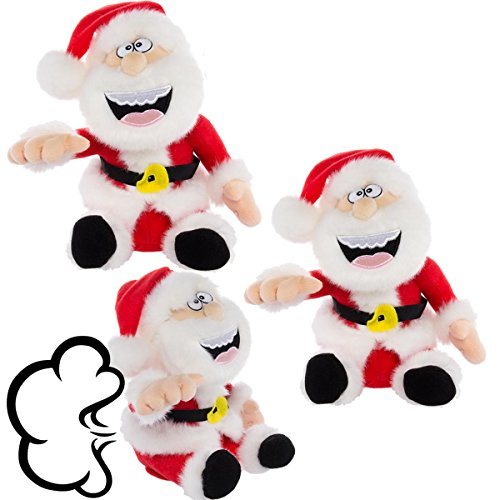Simply Genius, 3 Pack, Pull My Finger Santa Claus: Farting Animated Plush Toys, Christmas Stuffed Animals, Animated Christmas Decorations