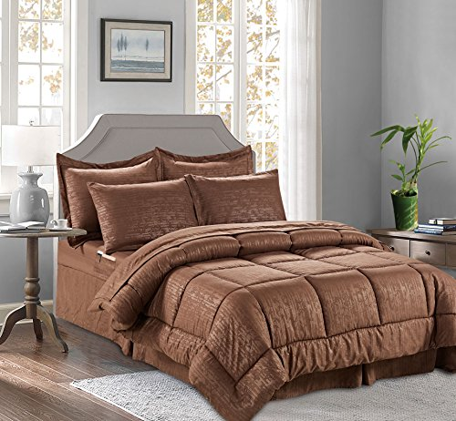8-PIECE Bed-in-a-Bag Comforter Set on Amazon! Celine Linen - Silky Soft Bamboo Design Comforter,Bed Sheet Set,with Double Sided Storage Pockets, Full/Queen, Chocolate