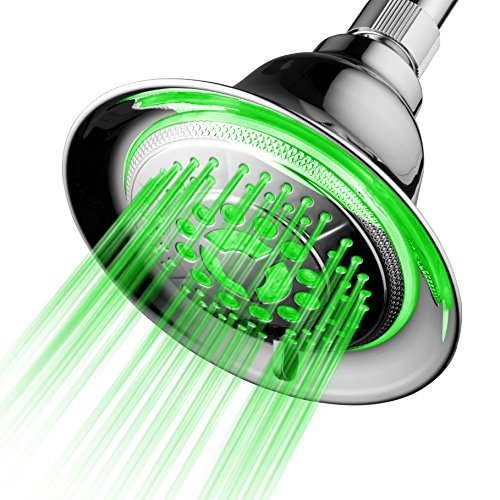 DreamSpa All Chrome Water Temperature Controlled Color Changing 5-Setting LED Shower-Head by Top Brand Manufacturer! Color of LED lights changes automatically according to water temperature