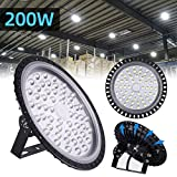 200W UFO LED High Bay Light lamp Factory Warehouse Industrial Lighting 20000 Lumen 6000-6500K IP54 Warehouse LED Lights- High Bay LED Lights- Commercial Bay Lighting for Garage Factory Workshop Gym