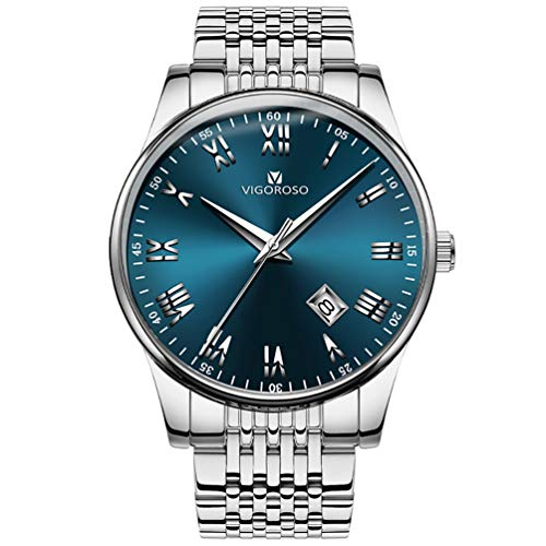 VIGOROSO Mens Watches Date Stainless Steel Roman Numeral Wrist Watch for Men (Silver & Blue)