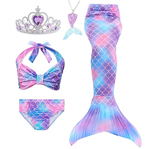 Lovely Mermaid Swimmable Mermaid Tail Bikini Set 3pcs no Monofin Princess Dress Girls Kids Cosplay Purple, 4