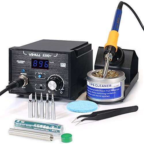 YIHUA 939D+ Digital Soldering Station, 75W Equivalent with Precision Heat Control (392°F to 896°F) and Built-in Transformer. ESD Safe, Lead Free with °C/°F display (Black)