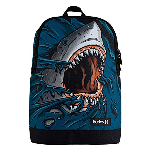 Hurley Boys' One and Only Printed Backpack, Green Abyss Shark, L