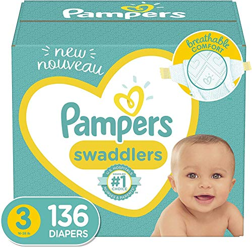 Diapers Size 3, 136 Count - Pampers Swaddlers Disposable Baby Diapers, Enormous Pack (Packaging May Vary)