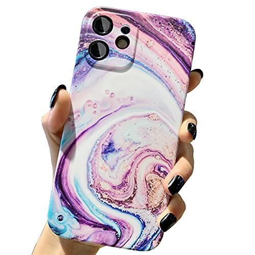 niufoey Compatible with Apple iPhone 11 Case Marble,Cute Ultra-Thin [Precision Hole Camera Lens Protection Design] Fashion Matte Texture Cover Shockproof Soft TPU Cases for 6.1 inches (Galaxy Purple)