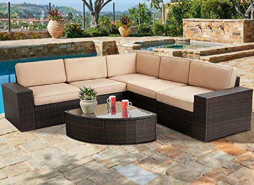 SUNCROWN Outdoor Furniture 6-Piece Patio Sofa and Wedge Table Set, All-Weather Brown Wicker with Washable Seat Cushions and Coffee Table(Light Brown)