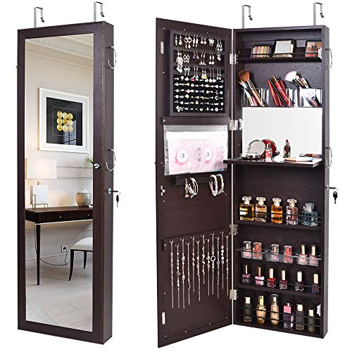 Jewelry Mirror Armoire Wall Mount Over The Door, Mirror Jewelry Cabinet Storage Organizer Locking (Brown)