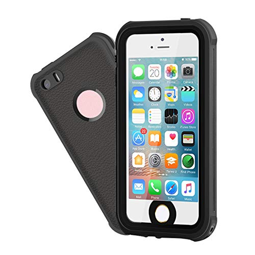 Waterproof iPhone 5/5S/SE Case, EFFUN IP68 Certified Waterproof Dustproof Snowproof Shockproof Case Fully Sealed Underwater Cover with Built-in Screen Protector for iPhone 5/5S/SE Black