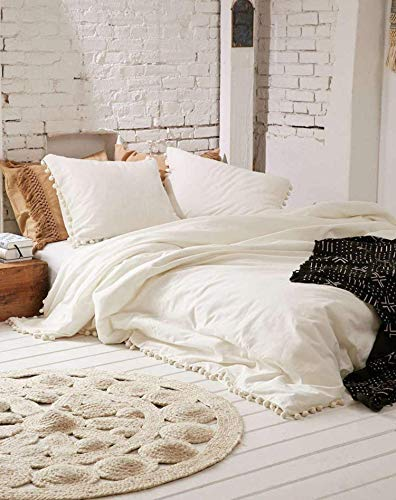 Traditional Jaipur Bohemian Dorm Decor Off White Doona Duvet Cover Queen Pom Pom Mandala Comforter Hippie Bedding Sheet Boho Bedspread with 2 Pillow 2 Cushion Set (King Size 90x108 Inches)