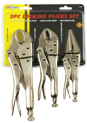KR Tools 11318 Pro Series 3-Piece Lock Grip Pliers Set