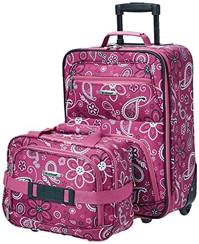 Rockland Fashion Softside Upright Luggage Set, Pink Bandana, 2-Piece (14/19)