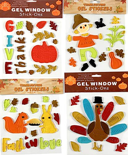 Fall Thanksgiving Harvest Assortments Gel Window Gel Clings Decorations: Pumpkin, Turkey, Leaves,