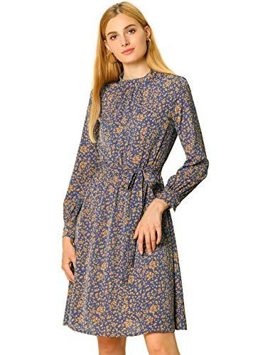 Allegra K Women's Mock Neck Floral Flare Long Sleeve A-line Tie Waist Dress Large Navy Blue