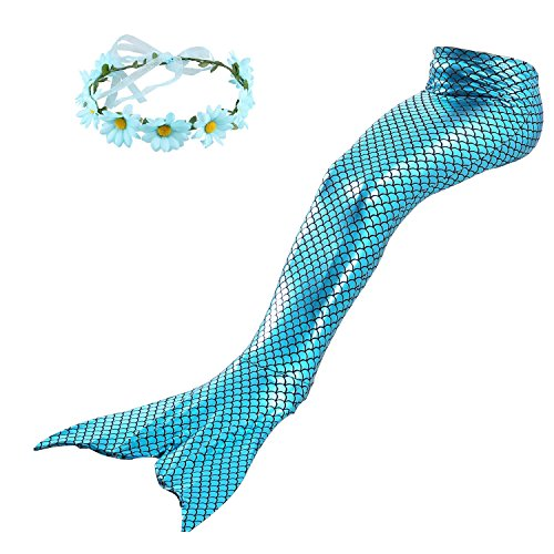 Familycrazy Mermaid with Tail Swimsuit Wet/Dry Outfit with Flower Headband (Adult Small, Blue Bling Sparkle)