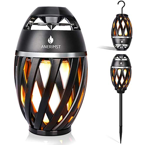 ANERIMST Led Flickering Table Lamp, Tiki Torch Atmosphere Outdoor Bluetooth Speaker with Pole and Hook Bundle, Stereo Sound, Exclusive BassUp, Waterproof TWS Supported for Indoor/Garden/Patio