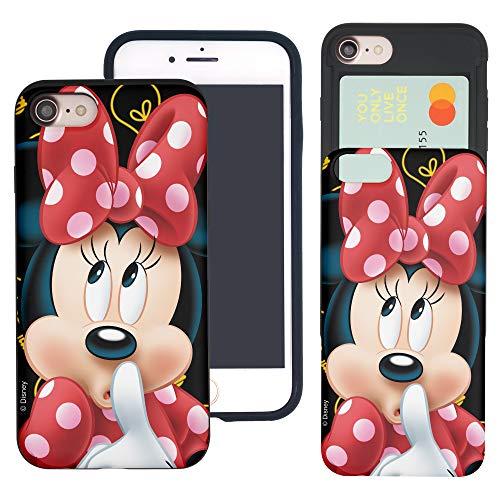 iPhone 8 Plus/iPhone 7 Plus Case Cute Slim Slider Cover : Card Slot Dual Layer Holder Bumper for [ iPhone8 Plus / iPhone7 Plus ] Case - Idea Minnie Mouse