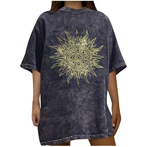 Sun Pattern Ladies Tops Casual Short Sleeve Blouse Drop Shoulder Crewneck Tees Vintage Loose T-Shirt Gray