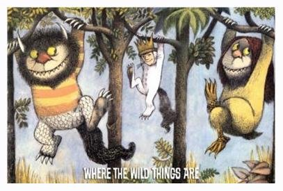 Buyartforless Work Framed Where The Wild Things are Hanging from Trees 36x24 Art Print Poster Wall Decor 1963 Children's Picture Book by American Writer and Illustrator Maurice Sendak, Brown