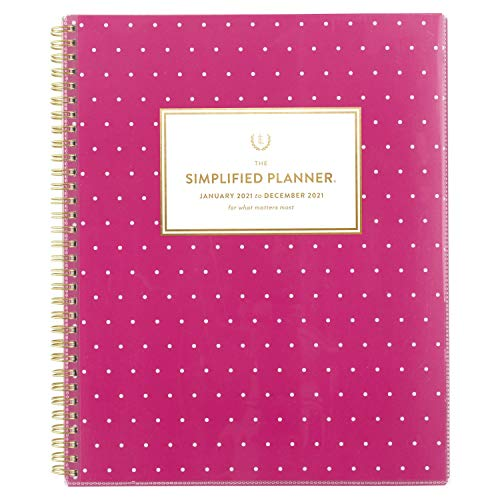2021 Weekly & Monthly Planner Simplified by Emily Ley for AT-A-GLANCE, 8-1/2' x 11', Large, Customizable, Fuchsia Dot (EL51-901)