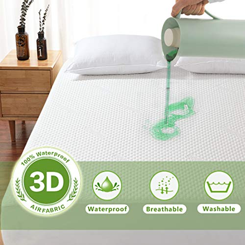 Fraylon Bamboo 100% Waterproof Mattress Protector, 3D Air Fabric,Breathable & Noiseless Mattress Pad Cover,Machine Washable,Fitted 8'-21' Deep, Hypoallergenic