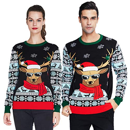 uideazone Men Women Ugly Christmas Sweater Elk Snowflake Pattern Long Sleeve Pullover Jumper for Party Xmas Festival