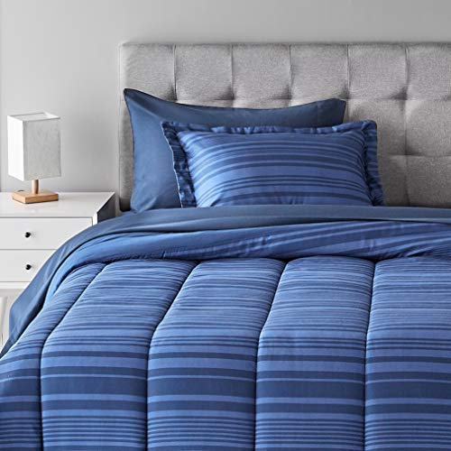 Amazon Basics 5-Piece Light-Weight Microfiber Bed-In-A-Bag Comforter Bedding Set - Twin, Blue Calvin Stripe