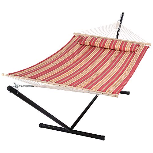 SUNCREAT Outdoor Hammock with Stand, Two Person Quilted Fabric Hammock Swing with 12ft Steel Stand, Red Stripes
