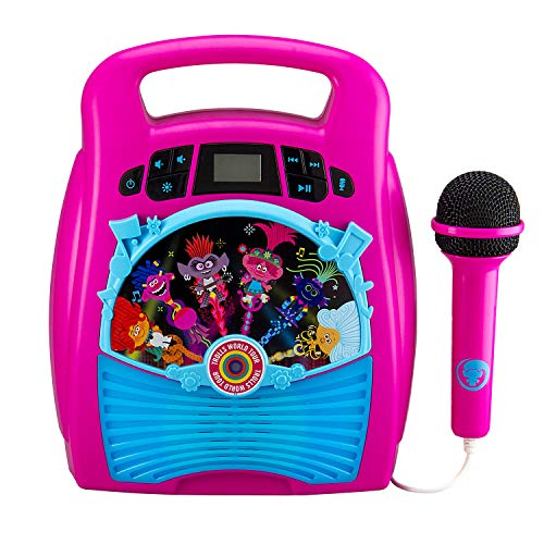 eKids New Trolls World Tour 2 Bluetooth MP3 Karaoke Machine Player Portable with Light Show Store Hours of Music with Built in Memory Sing Along Using The Real Working Microphone USB Port