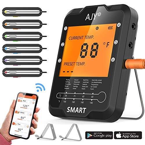BBQ Meat Grill Thermometer,AJY Smart Bluetooth Wireless Remote Digital Cooking Food Meat Thermometer with 6 Probe for Smoker Grill BBQ Thermometer support ios & Android, 328Feet.