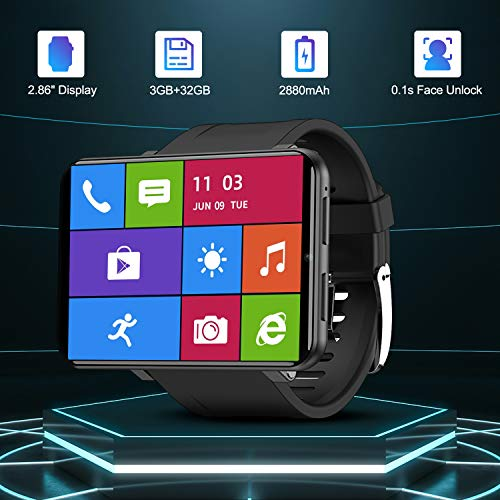 TICWRIS Andriod Smart Watch, GPS Android Smartwatch, 4G LTE with 2.86' Touch Screen, Face Unclok Phone Watch with 2880mAh Battery, IP67 Waterproof Sport Watch,3GB+32GB Andriod Watch for Men (Black)