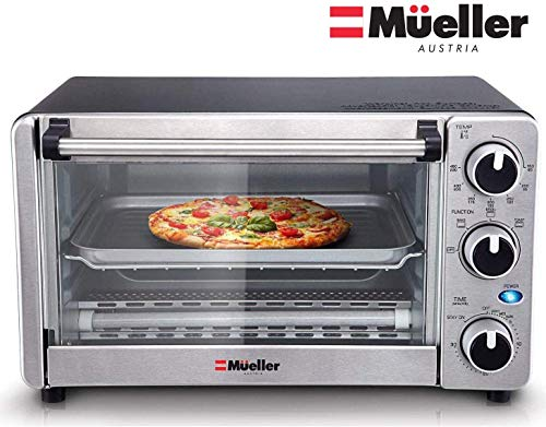 Toaster Oven 4 Slice, Multi-function Stainless Steel Finish with Timer - Toast - Bake - Broil Settings, Natural Convection - 1100 Watts of Power, Includes Baking Pan and Rack by Mueller Austria