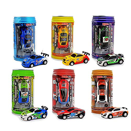 haomsj Mini Coke Can Speed Rc Radio Remote Conrtol Micro Racing Car with Led Lingts Toys Kids Gift 2.4GHz (2 in 1)