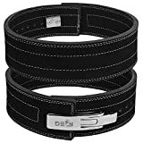 DEFY Power Lifting Belt Lever Buckle Genuine Leather 10MM Gym Training Exercise Belt Black (Large)